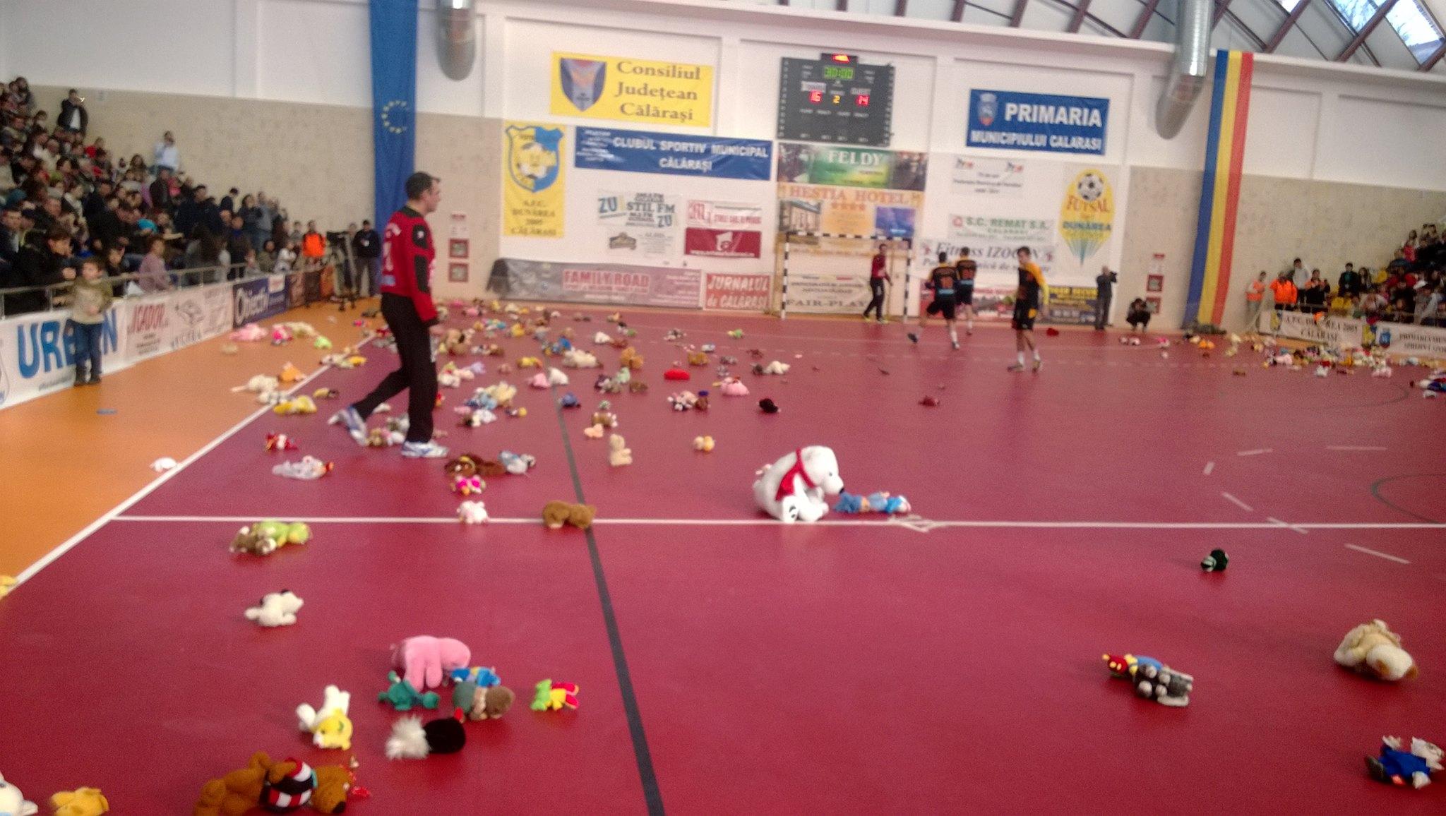 Parchetul sălii din Călărași a fost acoperit cu jucării de pluș (Facebook)