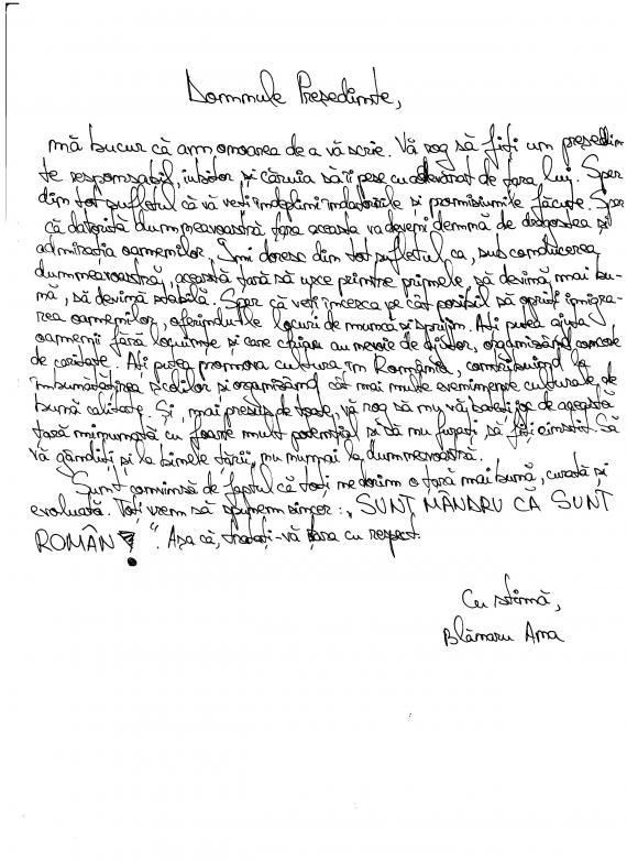 scrisorile copiilor către președintele româniei