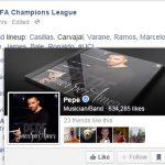 """Pepe a fost """"tăguit"""" de UEFA în locul celebrului fundaș portughez cu același nume de la Real Madrid (Facebook)"""
