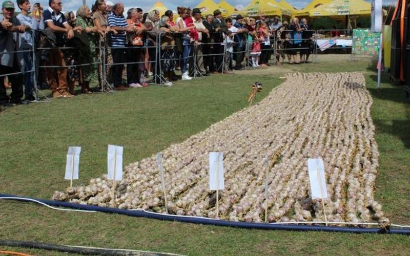cea mai lungă funie de usturoi