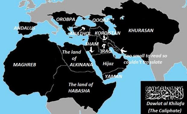 Harta prezentată în 2014, care anunță intențiile Statului Islamic în Europa