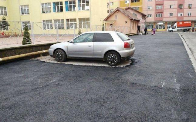 Asfaltări la Aiud. Sursa foto: Facebook / Tiberiu Burdușan