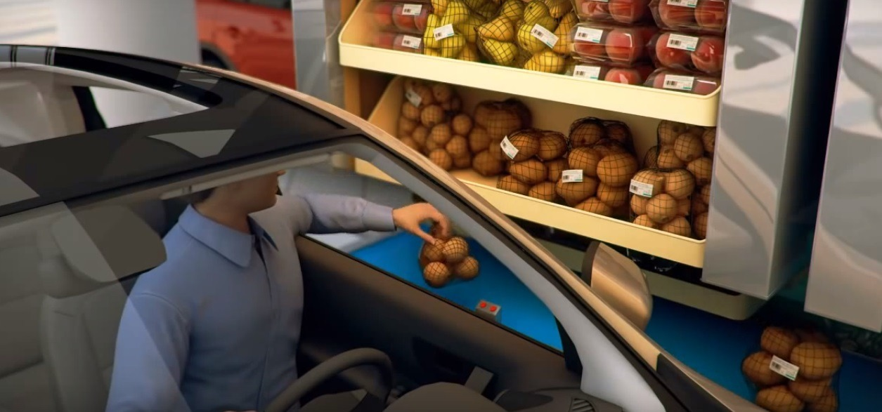 Supermarket drive-through (Youtube)