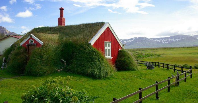 islanda casă verde
