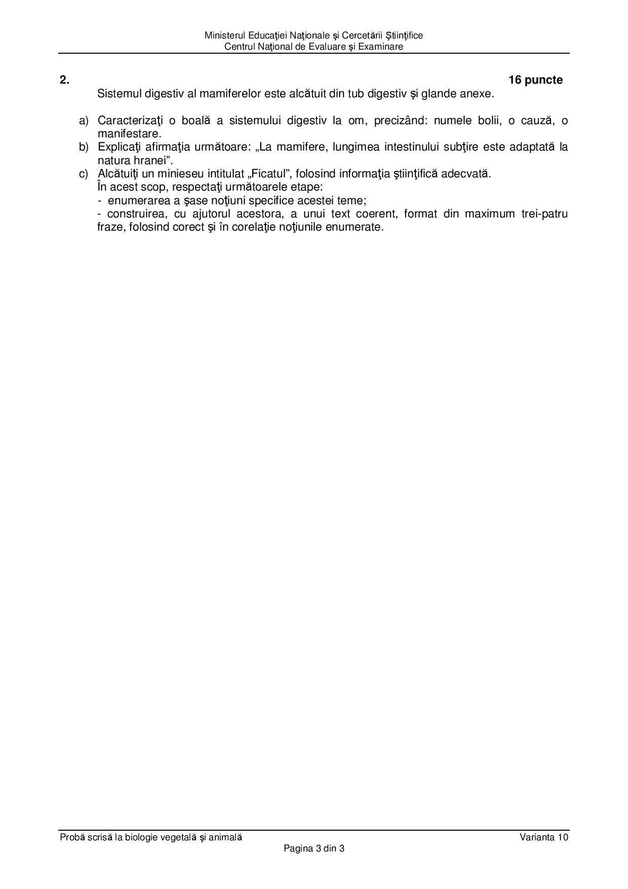 Subiecte Biologie vegetală și animală