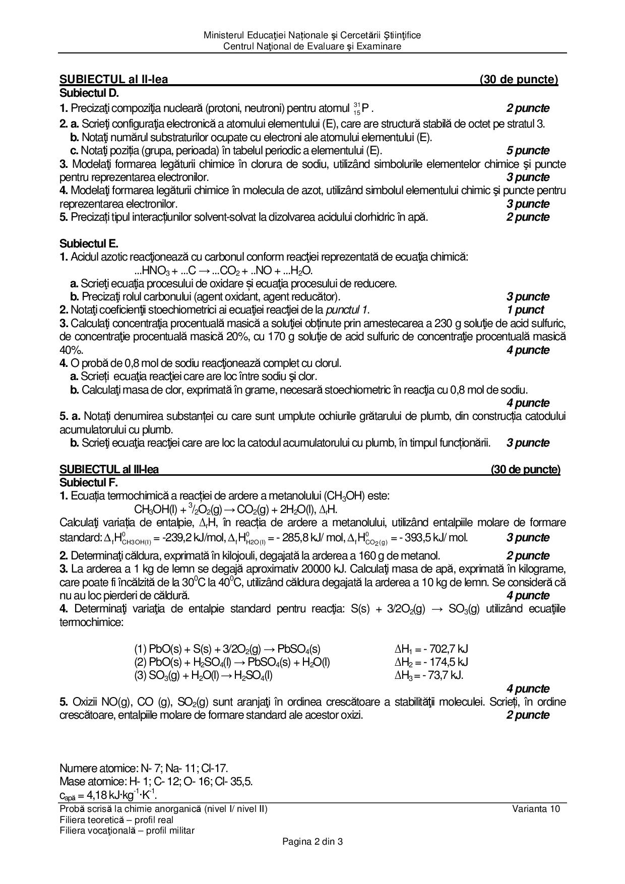 BAC 2016. Subiecte Chimie profil real