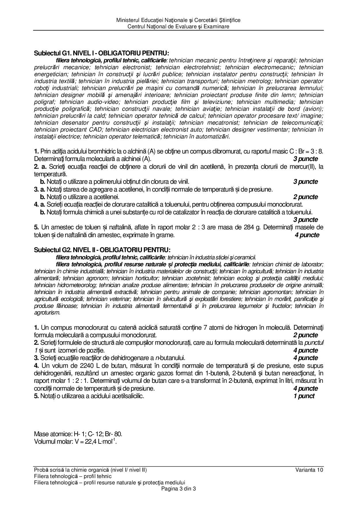BAC 2016.Subiecte Chimie organică. Profil tehnologic