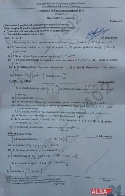 subiecte matematică bac toamnă tehnologic