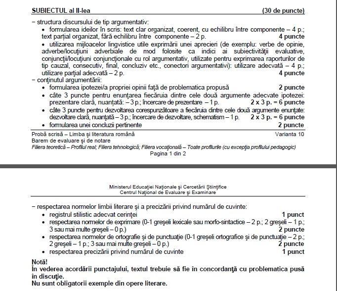 subiecte limba română bac toamnă