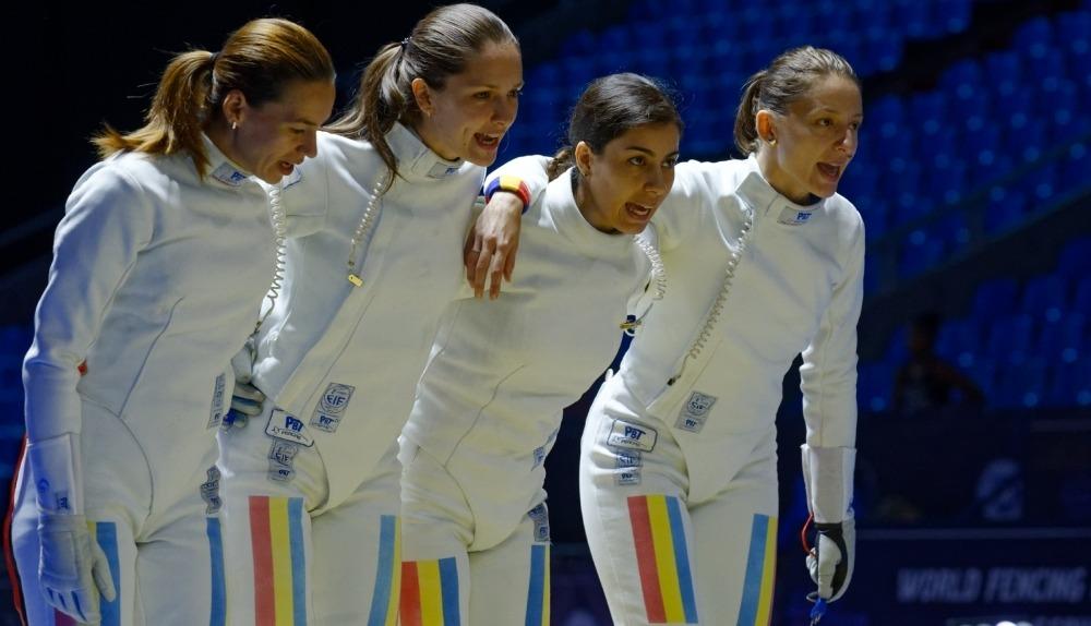 Simona Gherman, Simona Pop, Loredana Dinu și Ana Maria Popescu (de la stânga la dreapta), primele campioane olimpice ale României la Rio 2016 (Facebook)