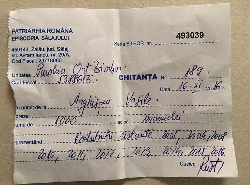 Chitanța pentru tăiată de preot pentru contribuțiile neplătite în ultimii ani FOTO: graiulsalajului.ro