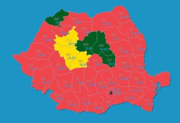 harta județe partide alegeri parlamentare 2016