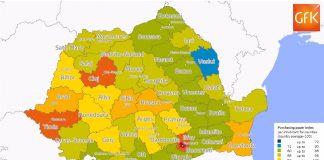 Așa arată harta României în ceea ce privește puterea de cumpărare a cetățenilor (Gfk)