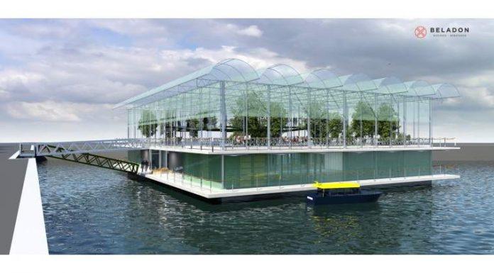 Așa arată ferma plutitoare care va fi instalată în portul Rotterdam (Foto: Beladon)