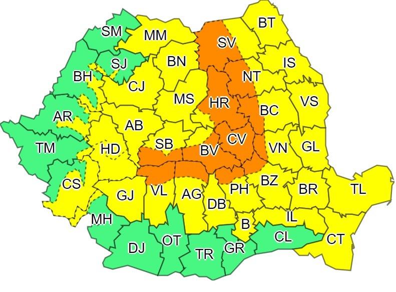 Previziunile meteorologilor români pentru perioada 19-21 aprilie (Administrația Națională de Meteorologie)