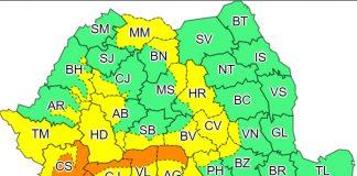 Așa arată harta emisă de ANM pentru miercuri, 19 aprilie