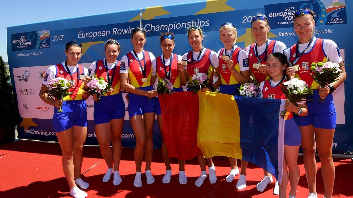 Româncele au câștigat proba-regină a Europenelor de canotaj de la Racice, în Cehia. Foto: Detlev Seyb / MyRowingPhoto.com