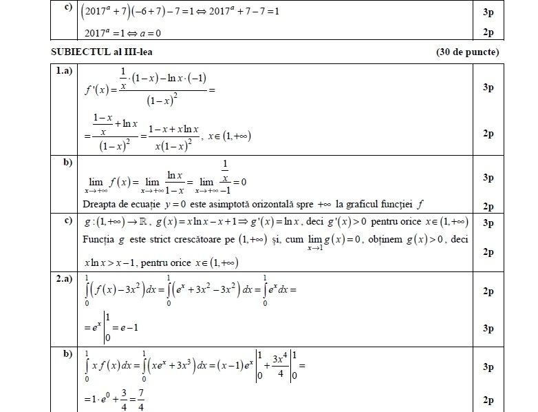 barem bacalaureat matematică 2017