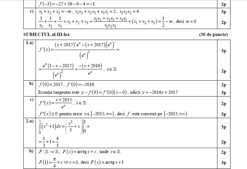 barem bacalaureat matematică 2017 subiecte științele naturii