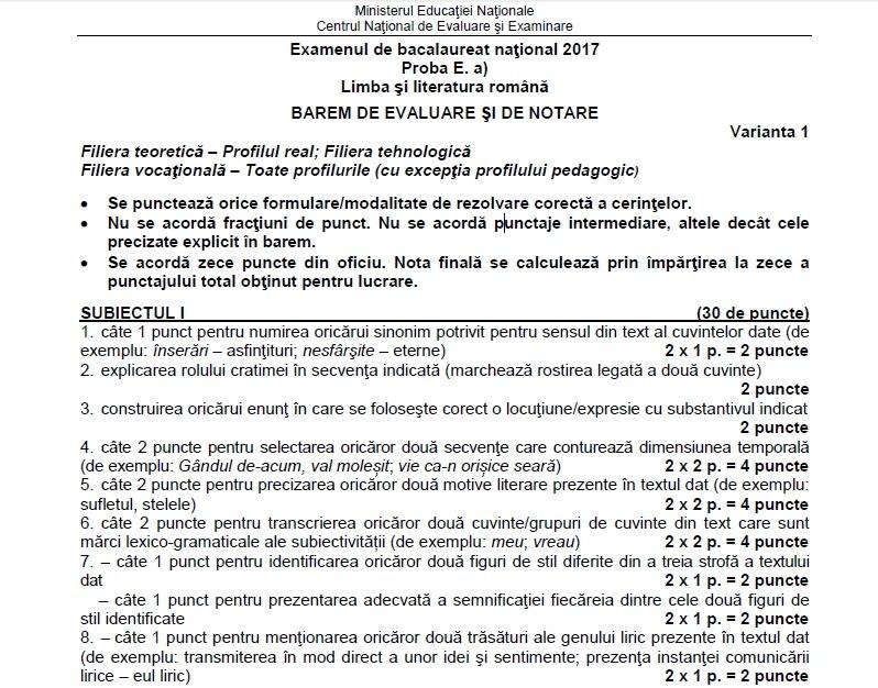 barem bacalaureat română 2017 subiecte real