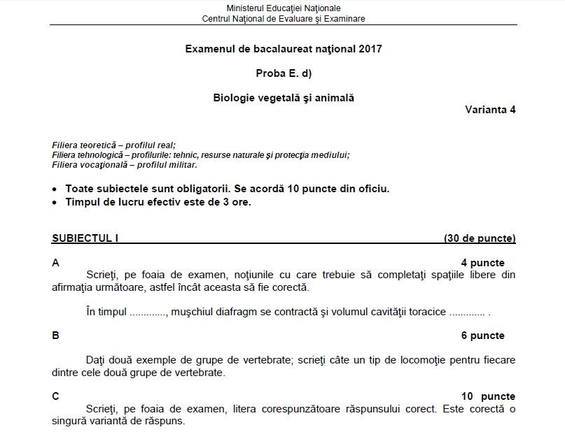 subiecte bac biologie vegetală și animală 2017
