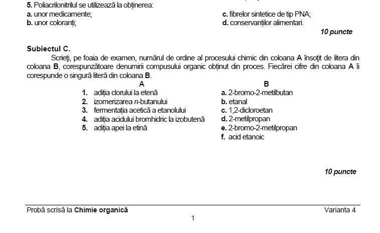 subiecte bac chimie organică 2017