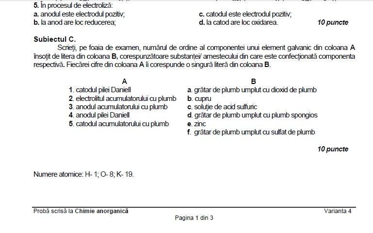 subiecte bac chimie anorganică 2017