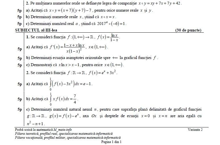 subiecte bacalaureat matematică 2017 matematică informatică