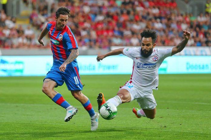 """Golul lui Junior Morais a fost singurul moment de bucurie al steliștilor în """"dubla"""" cu Sporting Lisabona. Foto: Viktoria Plzen / Facebook"""