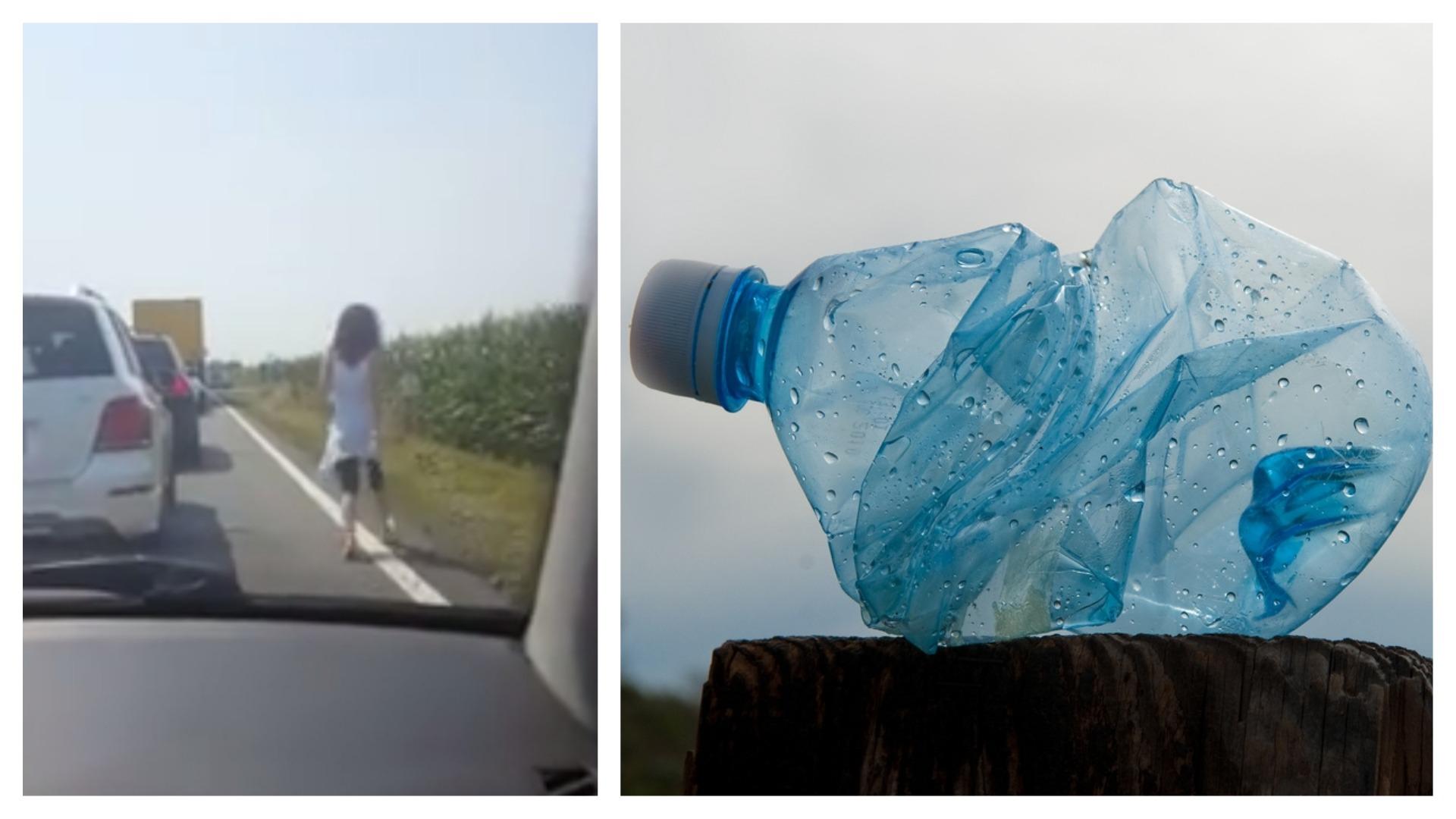 sticlă plastic aruncată mașină