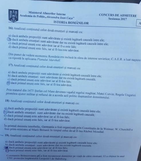 subiecte adminitere academia de poliție