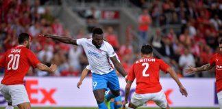 Harlem Gnohere a adus a treia victorie pentru FCSB în Grupa G a Ligii Europa. Foto: FC Steaua București