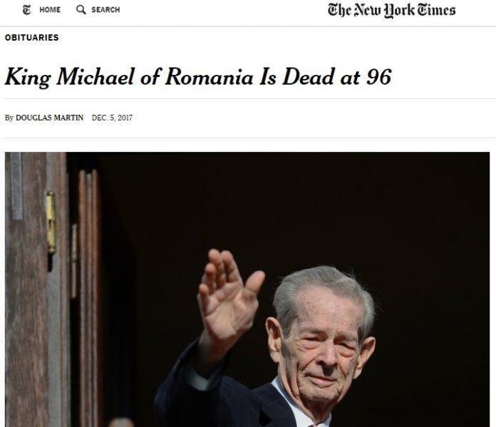 Regele Mihai a murit. Foto: New York Times