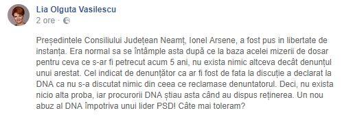 Postarea Olguței Vasilescu pe Facebook
