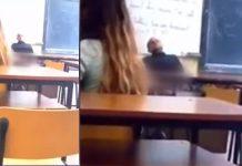 Profesorul de religie a fost filmat de o elevă FOTO: Captură video