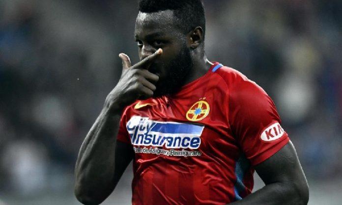 Harlem Gnohere a marcat un gol extrem de important pentru Steaua în meciul cu Lazio. Foto: Captură Digisport