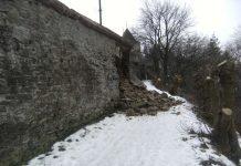 Zidul cetății medievale s-a prăbușit în 5 februarie 2018. Foto: Facebook - Primăria Sighișoara