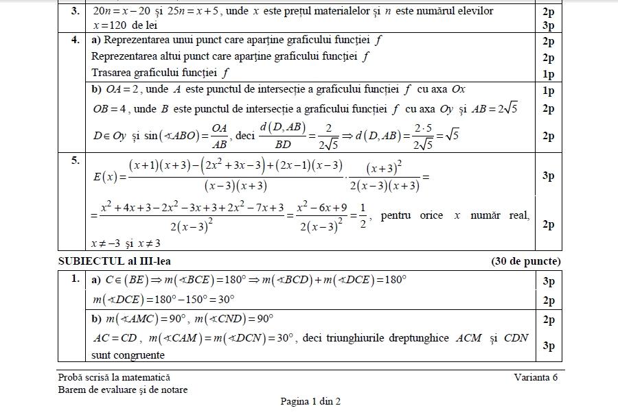 barem evaluare națională 2018 matematică