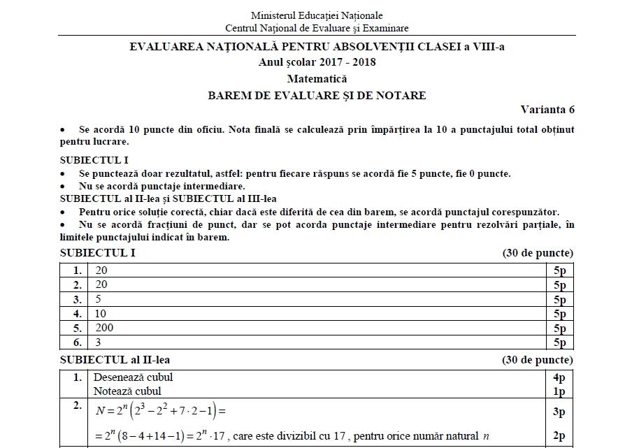 Barem Evaluare Națională 2018 Matematică. Cum se rezolvau subiectele - Argesul COOLtural