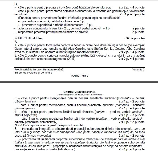 Barem Evaluare Națională 2018 Română