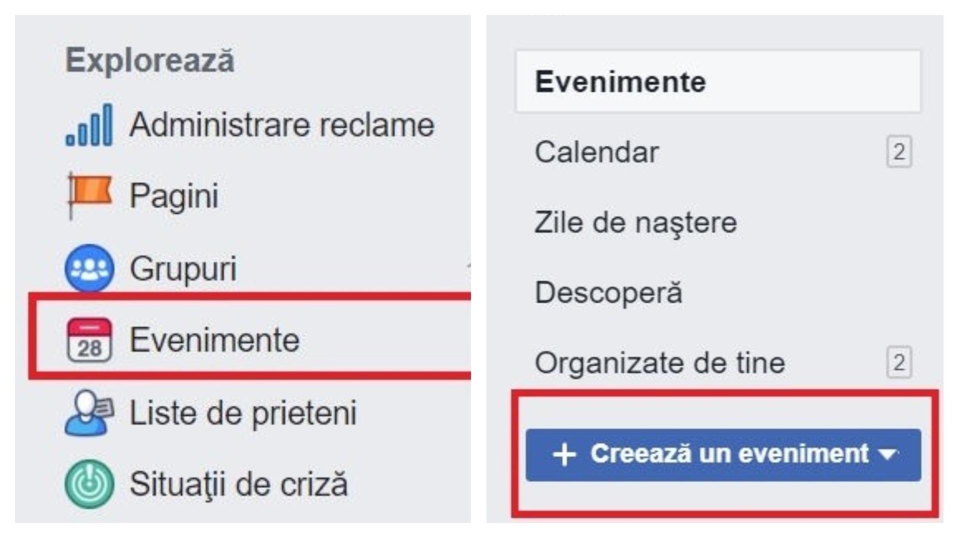 creare eveniment facebook