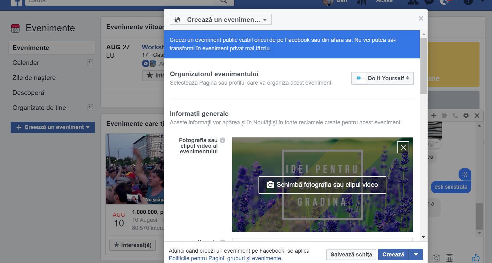 eveniment facebook optiuni creare