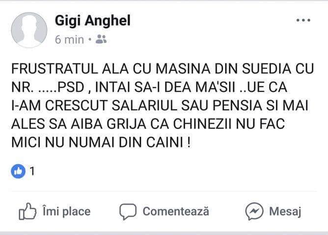 Captura a mesajului postat pe Facebook de viceprimarului din Alexandria FOTO: Hotnews.ro