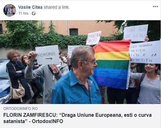 FOTO: Captură cu postarea distribuită de Vasile Cîtea/via Hotnews.ro
