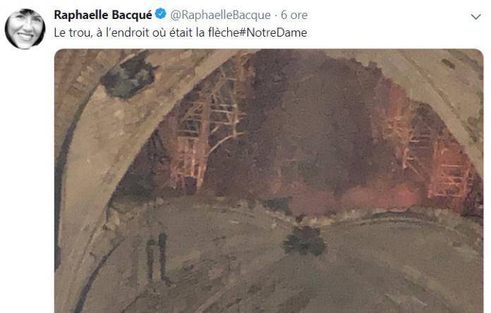 Raphaelle Bacqué, jurnalistă Le Monde, a publicat două imagini din interior, după incendiu