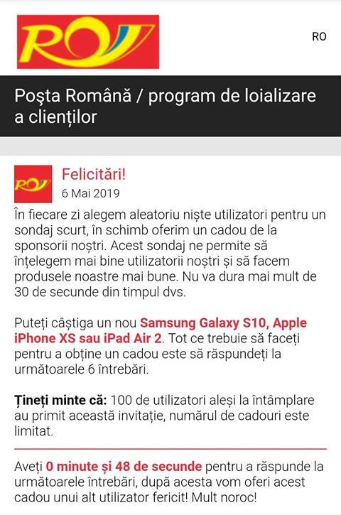 înșelătorie poșta română
