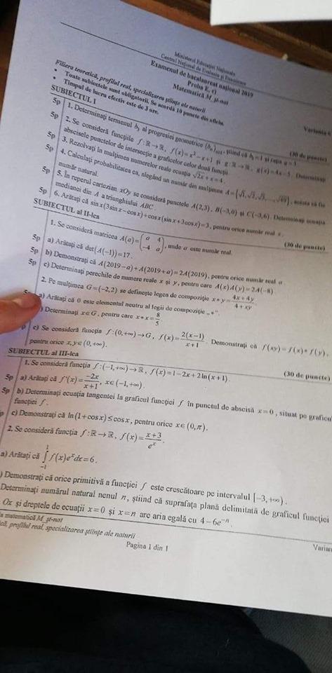 subiecte matematică bacaluareat 2019