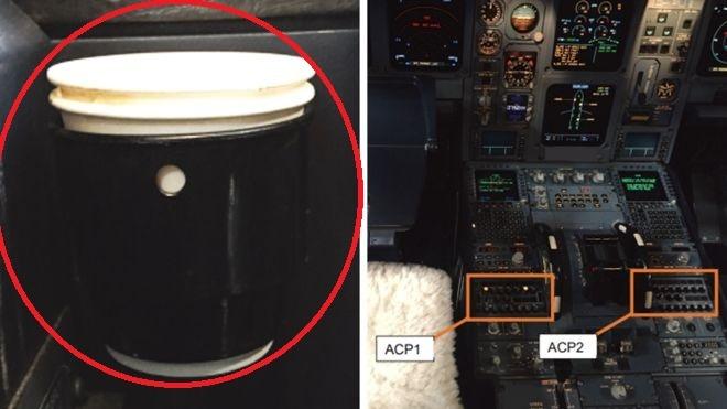 cafea vărsată panou de bord avion