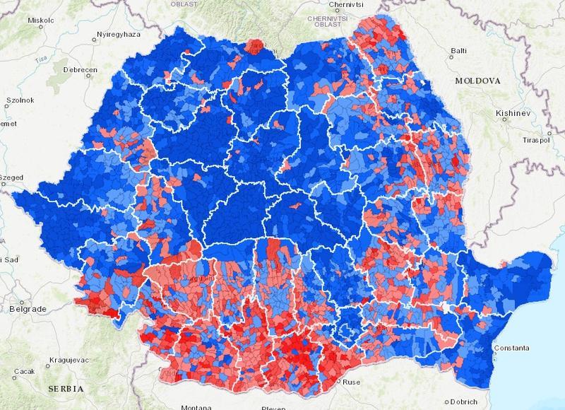 hartă județe alegeri prezidențiale rezultate