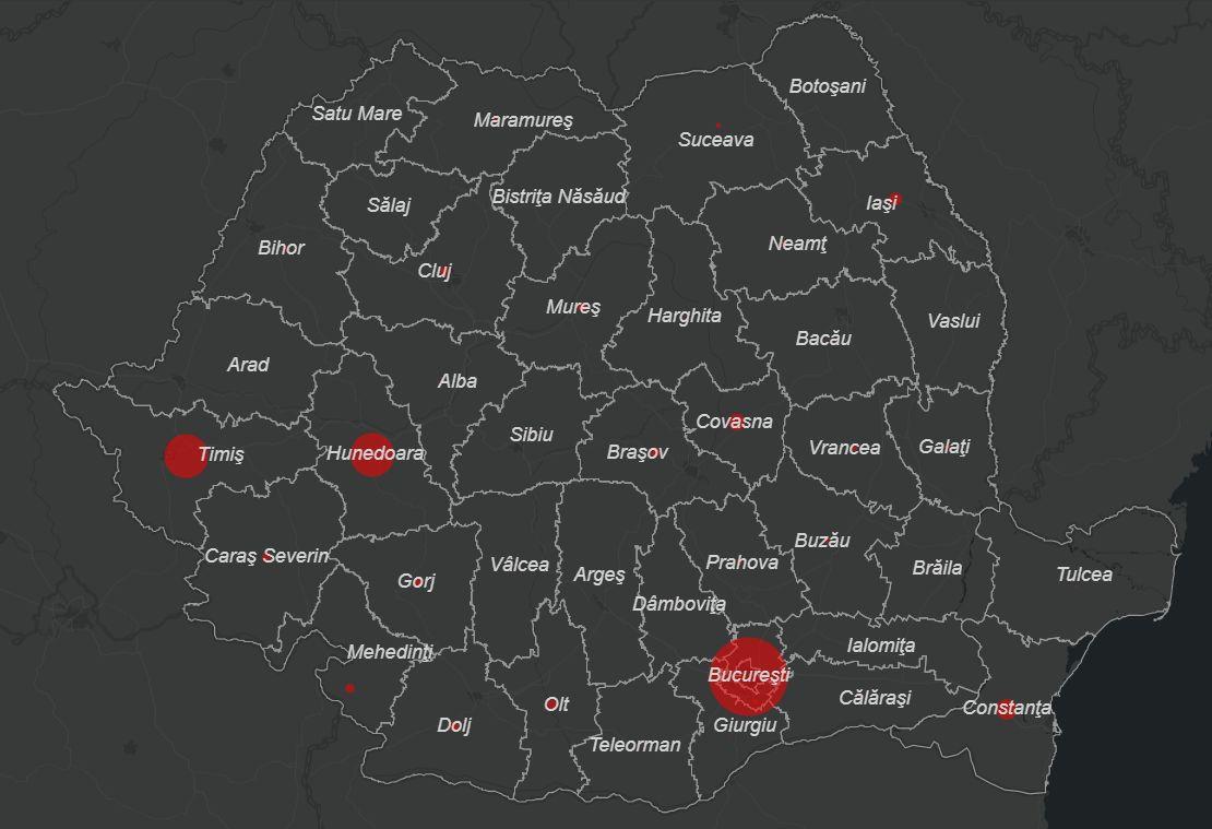 hartă coronavirus românia